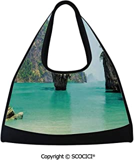 Fitness bag,James Bond Stone Island Landscape in Tropical Beach Cruising Journey of Life Photo,Easy to Carry(18.5x6.7x20 in) Green Brown