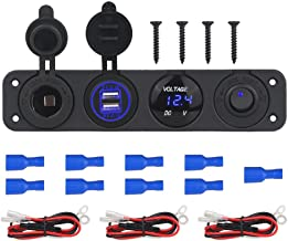 WATERWICH 2 3 4 Hole Marine Illuminated Toggle Rocker Switch Panel Waterproof Ignition Rocker Switch 12V-24V Volt Meter for RV Car Boat Trailer Vehicles Truck Yacht SUV (Four Hole Single Row Blue)
