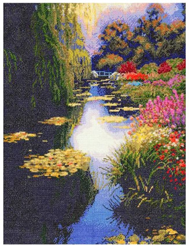 M C G Textiles View from Monet's Bridge Counted Cross Stitch Kit-16