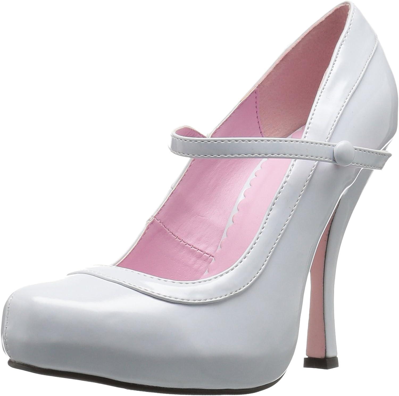 Ellie shoes Women's 423-Babydoll Maryjane Platform Pump, White, 9 M US
