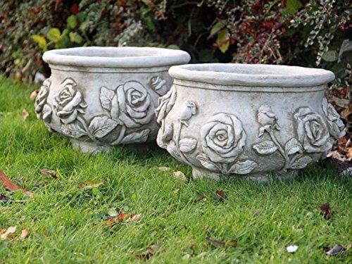 Par rosa macetas/diseño de flores maceta cesta piedra adorno de jardín mano fundido decoración...