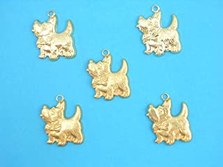 Boutique d'isacrea LOT 5 Charms Metal : Westie 24mm - Pendentif décoratif en métal - DIY pour embellissements de Bijoux, S...