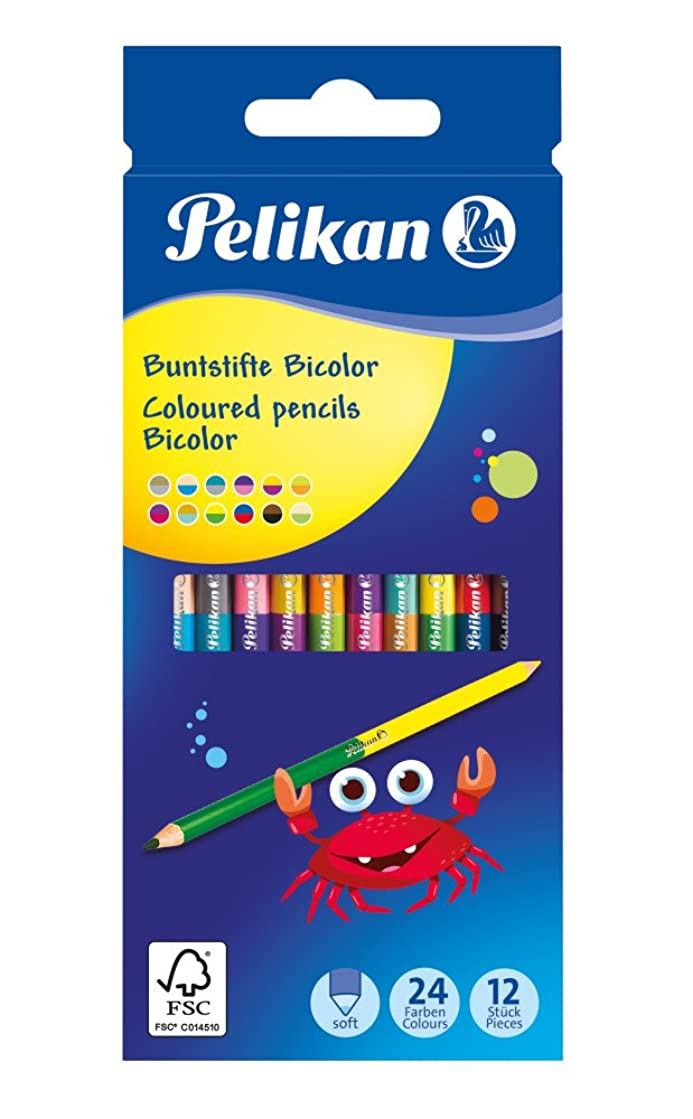 Pelikan 700146?12?Bicolor with All Coloured Pencil Crayons, 24?Colors, Round with 2?Different Coloured Ends, Painted, 175?mm