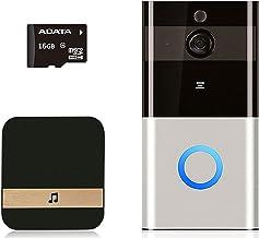 Draadloze deurbel, 1080p HD huisdeurbel, draadloos, waterdicht, met klokkenspel, deurbel en 16G-geheugenkaart, bewegingsde...