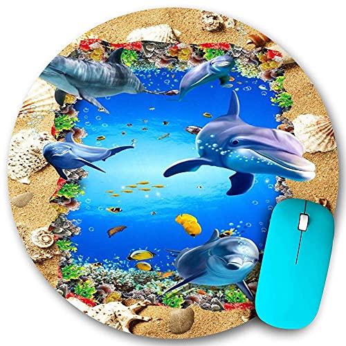 Rundes Mauspad, 3D Sand Muschel Jakobsmuschel Meeresboden Delphin Strand Fisch Blaues Wasser, rutschfeste Gummibasis Office Home Mauspads Klein 7,9x7,9 in Gaming Mousemate