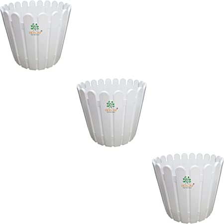 SKYCAP VIP Fence Plastic Flower Pot for Home Decor Indoor/Outdoor,Plant Container,gamla (12inch,White,Pack of 3)
