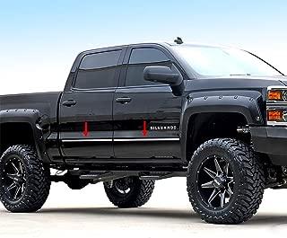 Made in USA! Works with 2014-2018 Chevrolet/GMC Silverado/Sierra Crew Cab Body Side Molding Trim 1 1/8'' 4PC