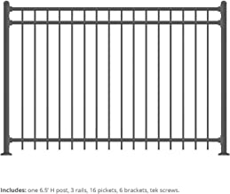 XCEL - Black Steel Anti-Rust Fence Panel - Flat End Picket - 6.5ft W x 5ft H - Easy Installation Kit, Outdoor Residential ...