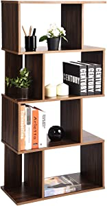 Coavas Geometric Industrial-Bookshelf Home Office-Bookcase with 8 Storage Spaces Modern Standing Storage-Shelf 2 Different Fits Organizer, Walnut