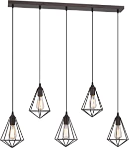 Zeyu 5-Light Island Pendant Light, 38 Inch Industrial Linear Chandelier Hanging Light for Kitchen Dining Room, Metal Wire Cage in Oil Rubbed Bronze Finish, ZY04-5 ORB