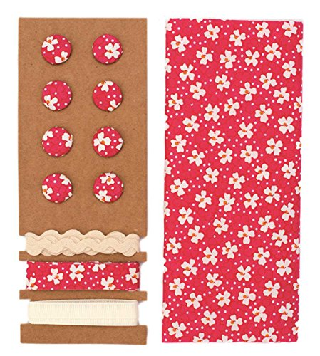 Lili Rose Textile Kit Framboise 48 x 48 cm Bandes 3 x 1 m 8 boutons