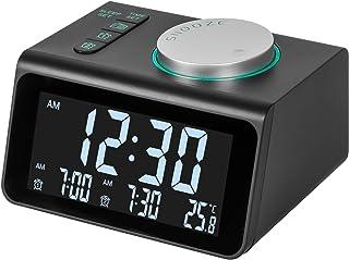 m zimoon wekkerradio, digitale wekkerradio FM-klok op het lichtnet met dubbele USB, temperatuurweergave, dubbele alarmen m...