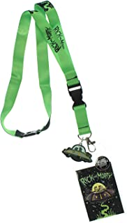 Rick and Morty Spaceship Pattern Lanyard with Charm and ID Holder