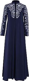 TOPME حجم كبير طباعة عباية جلباب فستان مسلم فستان كاجوال فستان شرق أوسطي عرقي