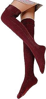 Hishiny, calcetines hasta la rodilla over knee calcetines mujeres sobre la rodilla calcetines hasta la rodilla calcetines más cálidos medias retro punto Medias de deporte calcetines