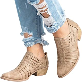 ACHICOO Women Retro Solid Color Thin Shoes with Back Zipper