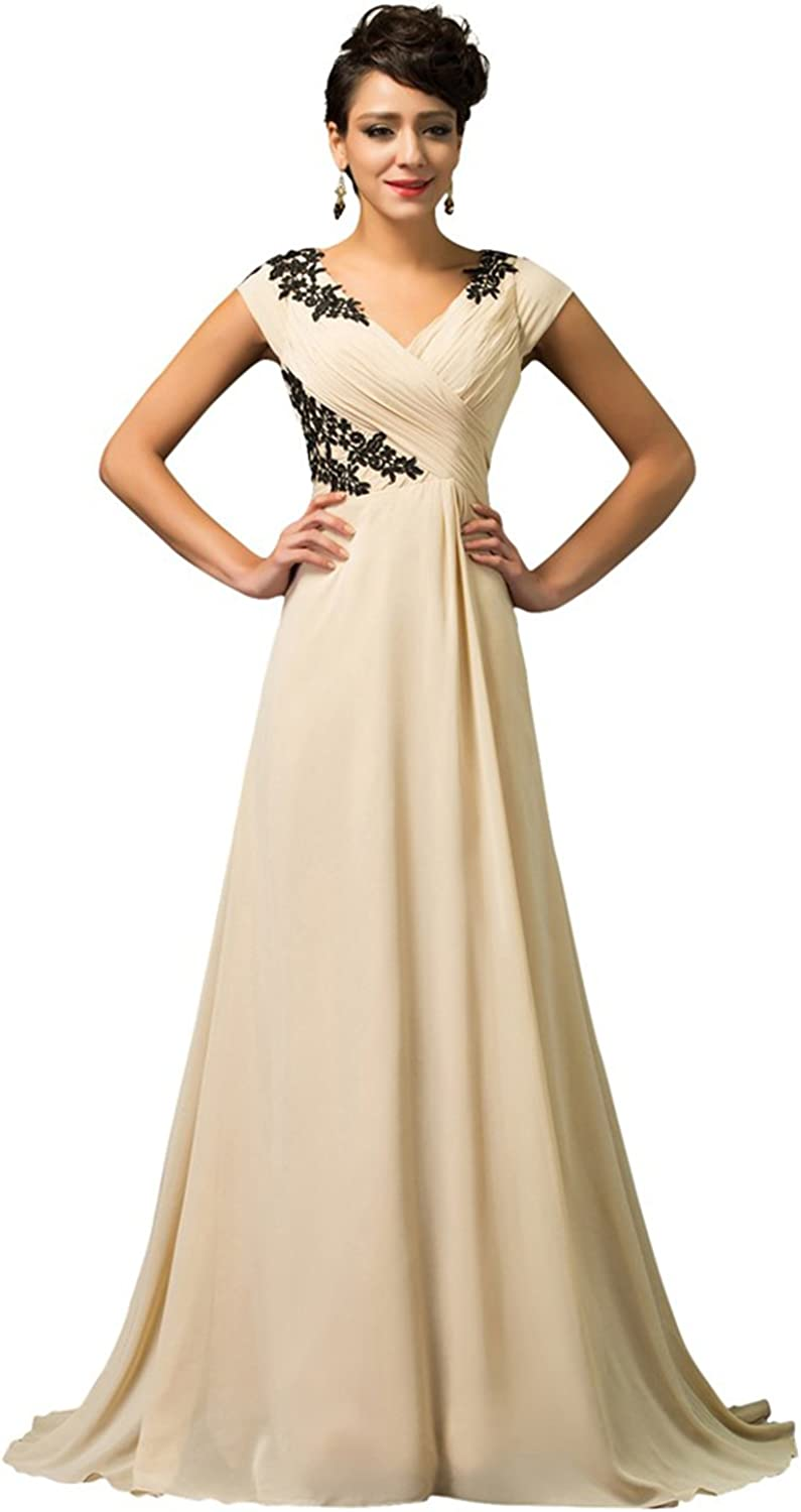 CK sky Women's Apricot Short Sleeve  Prom Long Formal Evening Party Gown Robe Dress