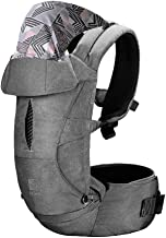 Hot Mom Babytrage für Neugeborene bis Kleinkind mit Abnehmbarer Kapuze Ergonomische Baby Trage 3,5-15kg Multiple-Tragepositionen, 2020 new Grau