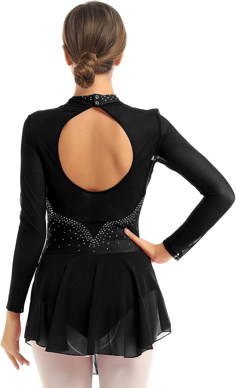 Yanarno Women Girls Mesh Long Sleeves Gymnastics Leotard Ballet Dancewear Figure Skating Dress