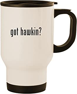 got hawkin? - Stainless Steel 14oz Road Ready Travel Mug, White