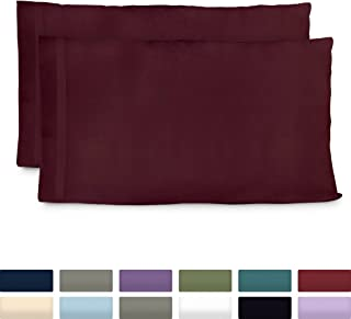 Cosy House Collection Premium Bamboo Pillowcases - King, Burgundy Pillow Case Set of 2 - Ultra Soft & Cool Hypoallergenic Blend from Natural Bamboo Fiber