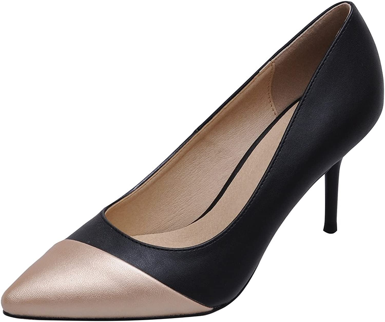 Salabobo 1056 Womens Character OL Business Comfort Work Wedding Bride Bridesmaid Party Job Pointed Toe Stiletto Cone Heeled PU Pumps
