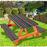 Mantel de mesa y banco de picnic tribal, estilo retro tribal azteca con borde elástico, 70 x 72 pulgadas, juego de 3 piezas para camping, comedor, exterior, parque, patio