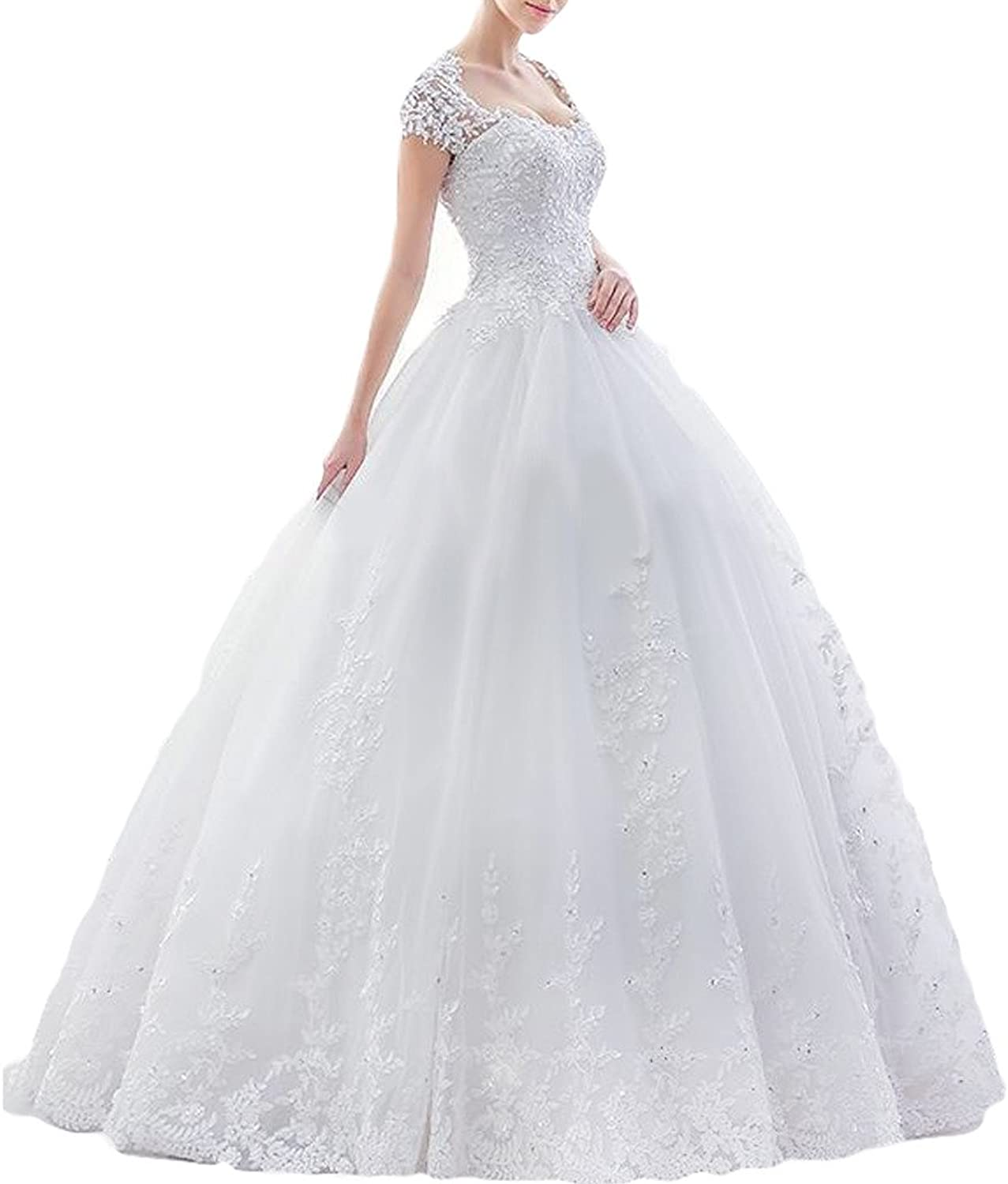 MILANO BRIDE Classic Wedding Dress For Bride Ball Gown Cap Sleeves Floral Applique