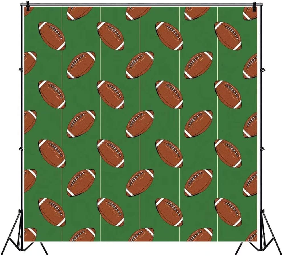 OFILA American Footballs Backdrop 5x5ft Polyester Fabric Kids American Football Party Photos Background Sports Theme Events Decor Football Match Photos Striped Background Events Decor Props