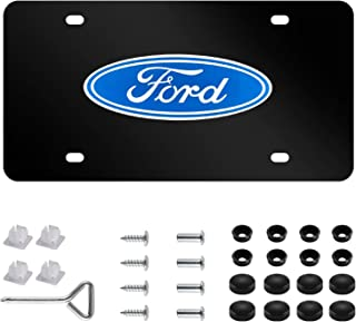 Ford Logo Black Sturdy Stainless Steel Front License Plate, with Screw Caps Cover Set Suit,Applicable to US Standard car License Frame for Ford.(Print)