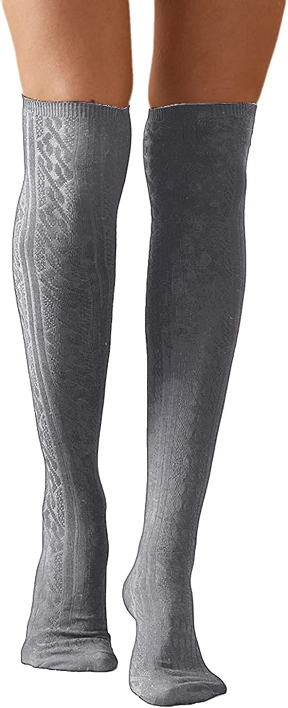 Misaky Women's Winter Soft Over Over item handling ☆ the K Houston Mall Knee Cable Boot High Socks
