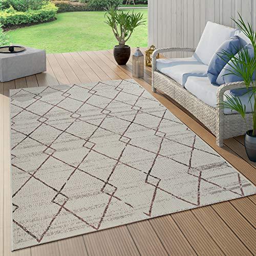 Paco Home Outdoor Teppich Terrasse u. Balkon, Küchenteppich Im Modernen Greenery Boho Look, Grösse:120x170 cm, Farbe:Creme