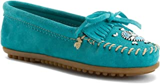 Minnetonka Women's Me to We Maasai Moccasin Turquoise Suede 7.5 M