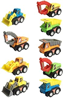 Construction Vehicles Fun Pull Back Car Toy for Boys Toddler Bulldozer Excavator Dumper Truck for Children Toddlers Mini Engineering Toys Party Favor Fillers Decorations 9 Packs - Color Random
