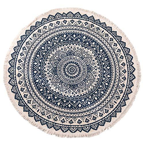 OUTGYM Runder Teppich aus Baumwolle Indoor Vintage Blumenteppich Weiche Küchenmatte mit handgewebter Quaste Orient Design für Wohnkultur Maschinenwaschbar Anti-Rutsch-Easy Clean 120 x 120 cm