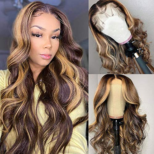 YMS Human Hair Wigs for Black Women 150% Density 13X4 Transparent Lace Front Wigs Human Hair Highlihgt 4/27 Human Hair Lace Front Wigs Pre Plucked (22 inch, 4/27Lace Front Wig)
