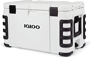 Igloo Leeward Marine Grade Lockable Insulated Fishing Ice Chest Cooler with Cutting Board, Fish Ruler, and Tie-Down Points, White