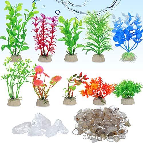 10 Piezas Plantas Artificiales de Pecera Plantas Pequeñas de Acuario con 2 Juegos de Piedras de Colores Mixtos Pulidas para Decoración de Acuario de Hogar y Oficina