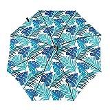Diseño automático ligero compacto portátil del paraguas plegable del viaje del modelo tropical azul y alta resistencia al viento