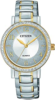 CITIZEN Womens Quartz Watch, Analog Display and Stainless Steel Strap - EL3044-54A