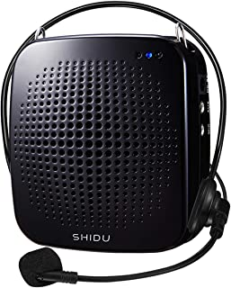 SHIDU Voice Amplifier Wired Headset Microphone and Speaker,Waistband, 15W Rechargwable PA System Supports MP3 Format Audio...