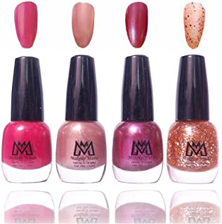 Makeup Mania Premium Nail Polish Exclusive Nail Paint Combo (Pink, Pearl, Golden Glitter, Dark Mauve, Pack of 4)