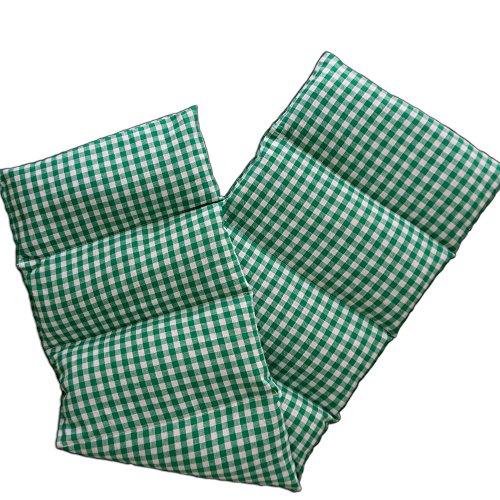 Rapssamenkissen 75x20cm groß 8-Kammer, grün-weiß - Wärmekissen, Körnerkissen
