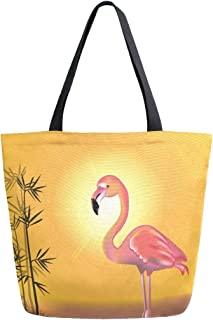 Mnsruu Mnsruu Handtasche aus Segeltuch, für Damen, mit Griff, Einkaufstasche, Crossbody-Tasche, Pink Flamingos