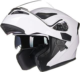 ILM Motorcycle Dual Visor Flip up Modular Full Face Helmet DOT 6 Colors (S, WHITE)