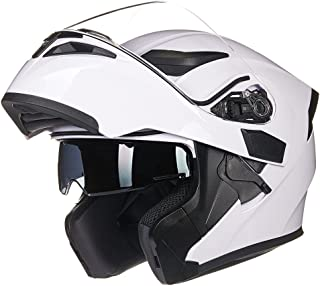 ILM Motorcycle Dual Visor Flip up Modular Full Face Helmet DOT 6 Colors (M, WHITE)