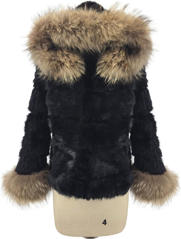 ETHEL ANDERSON Women's Rabbit Fur Hooded Black Jacket Coat Winter Overcoat Outwear