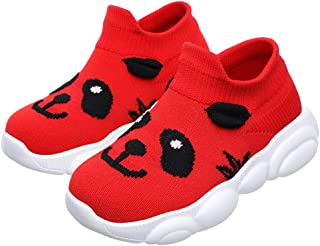 Kids Sneakers Comfy Mesh Fabrics Upper Breathable Slip On Sports Shoes with Cute Cartoon Panda Pattern for Running
