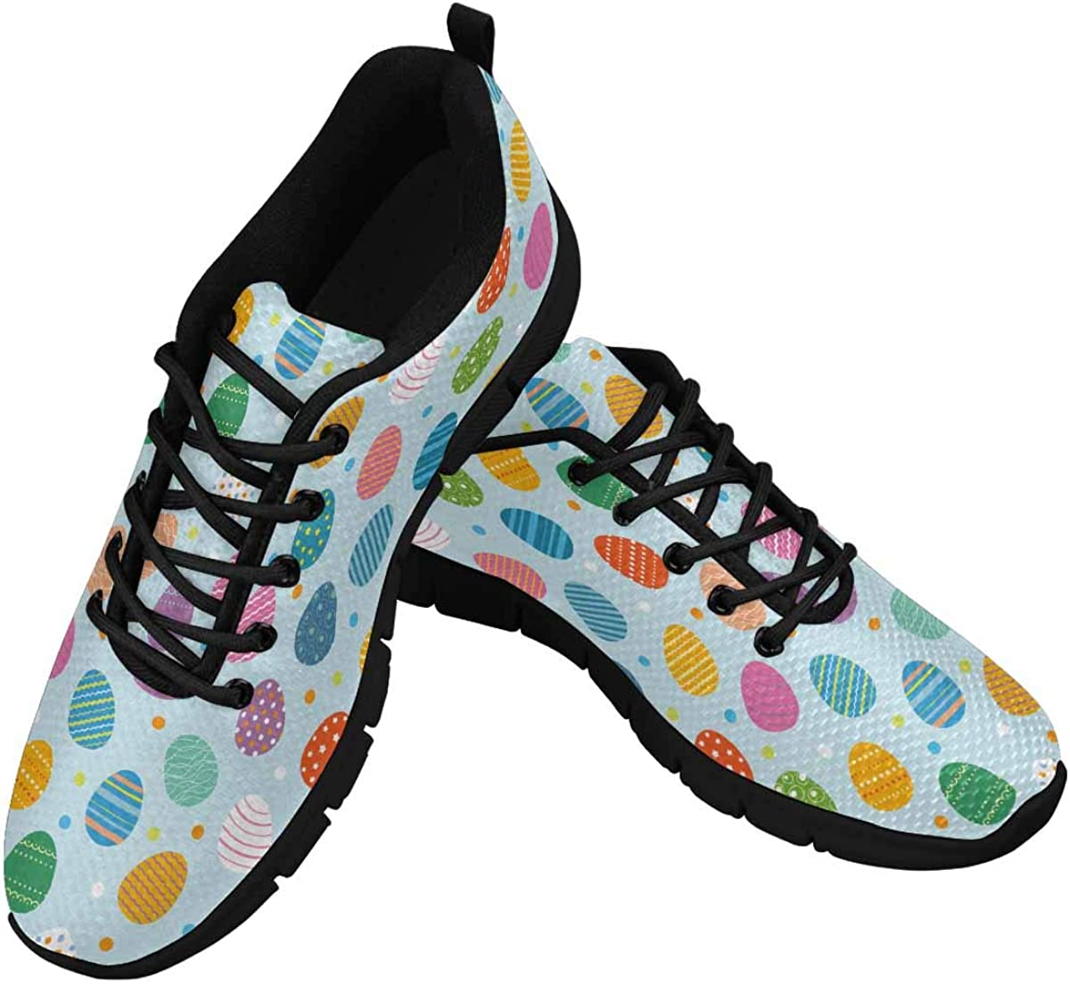 INTERESTPRINT Easter Eggs for Easter Holidays Women's Running Shoes Mesh Breathable Sports Casual Shoes