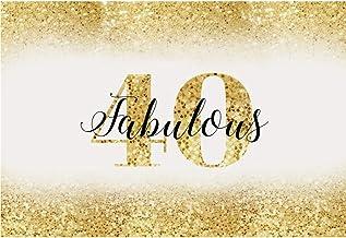 Cassisy 3x2m Vinilo Cumpleaños Telon de Fondo 40 cumpleaños Bandera Dorado Resplandecer Fondo de Pantalla de Lentejuelas Fondos para Fotografia Party Infantil Photo Studio Prop Photo Booth